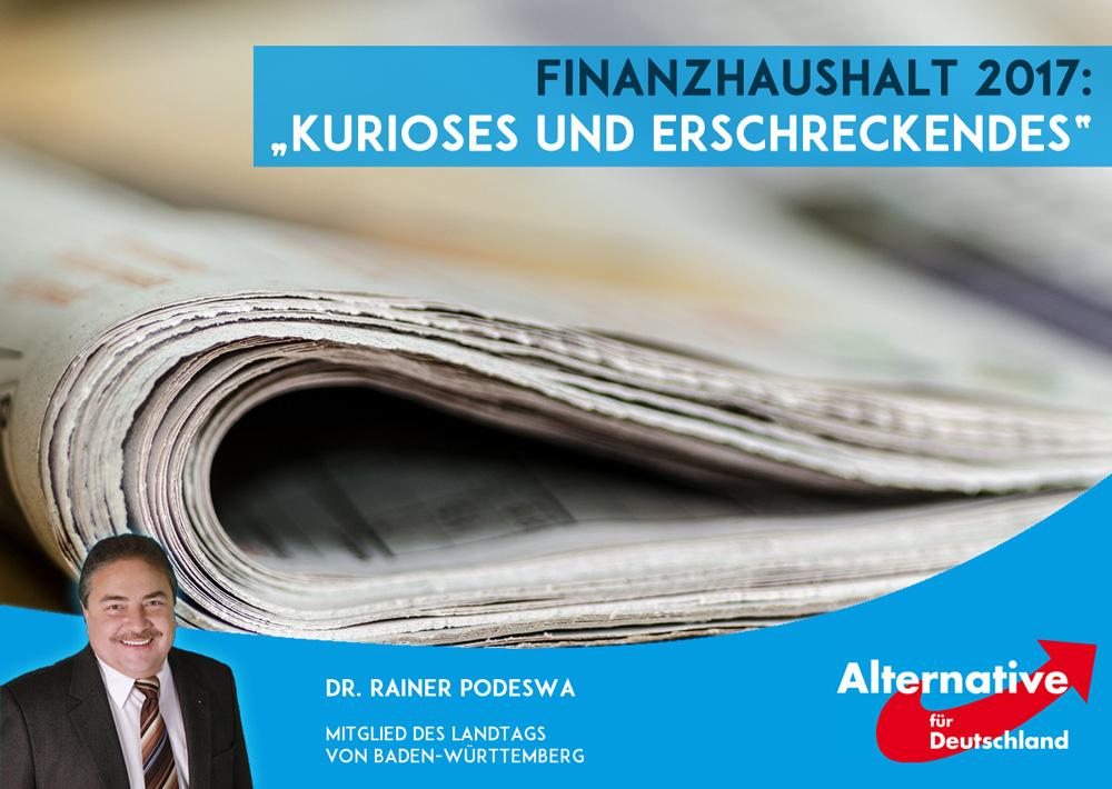Landeshaushalt 2017: Einsparmöglichkeiten!