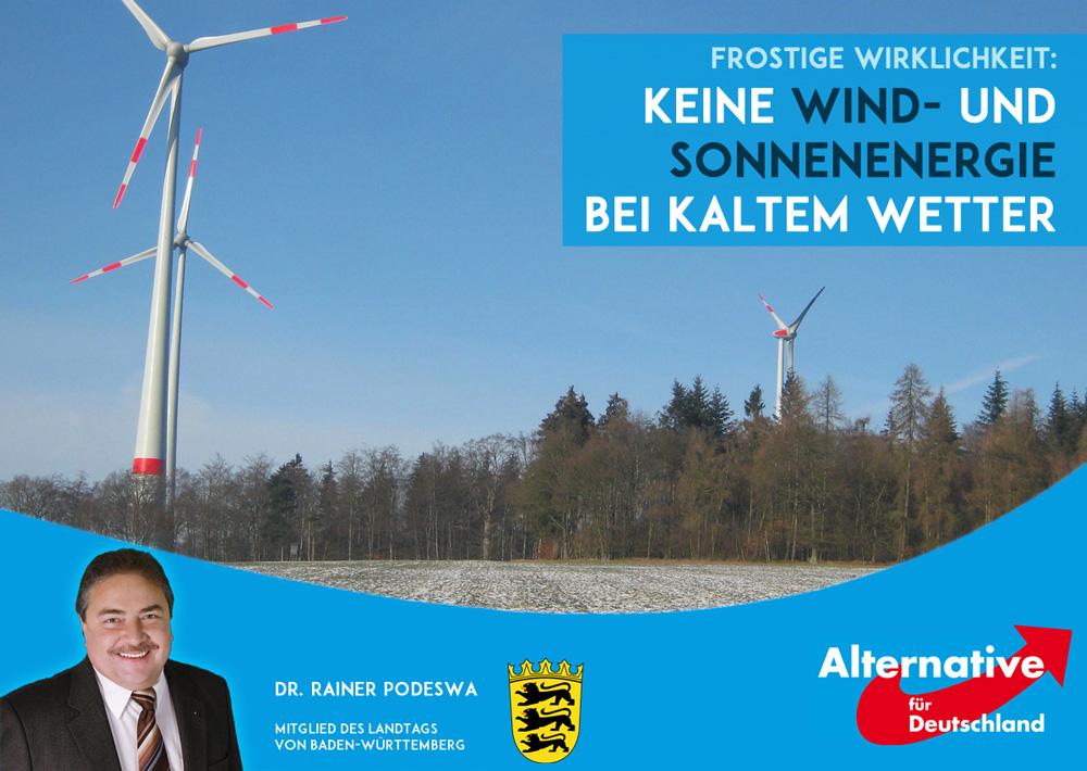 Frost: Ausfall von Wind- und Photovoltaikenergie