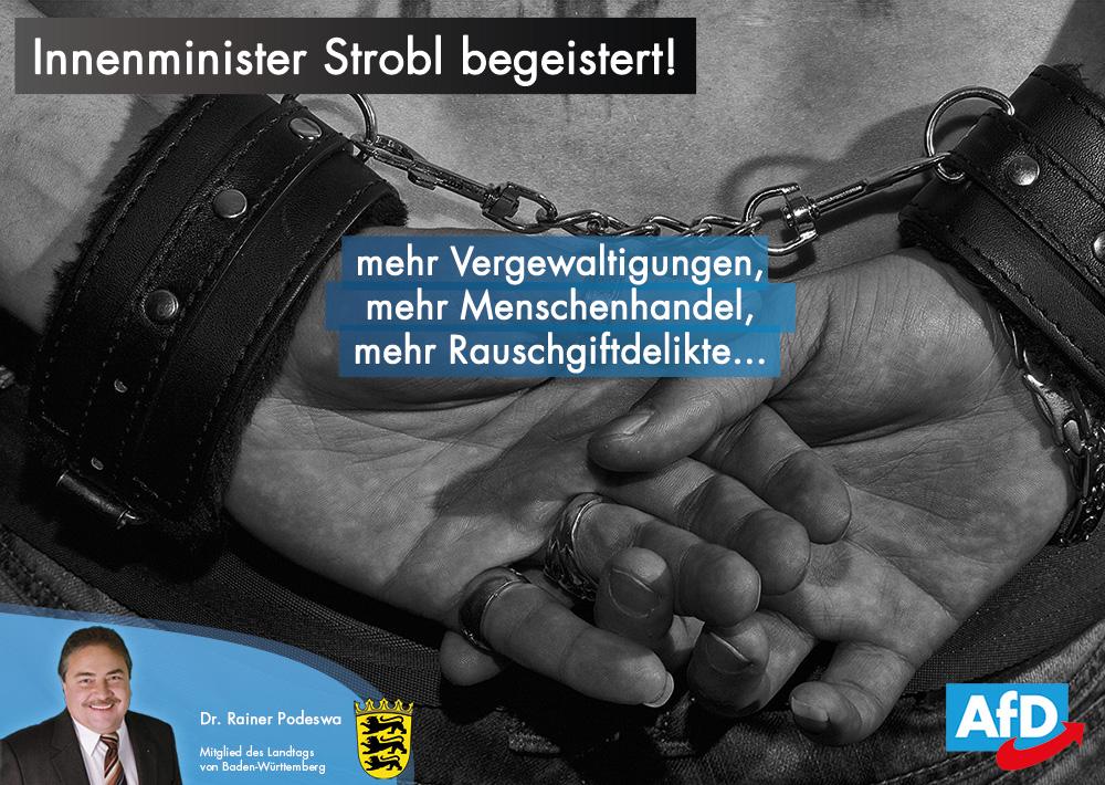 Innenminister Strobl begeistert: mehr Vergewaltigungen und Menschenhandel!