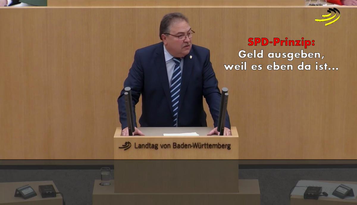 Landtagsrede zur SPD: Geld ausgeben, einfach weil es da ist...