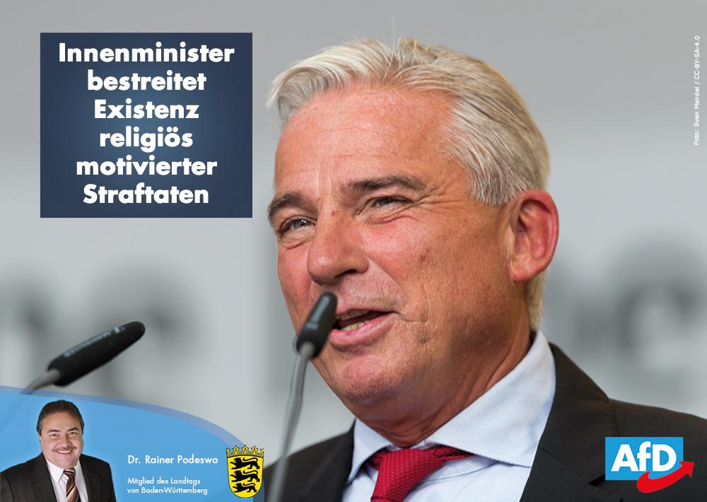 Innenminister Strobl bestreitet Existenz religiös motivierter Straftaten