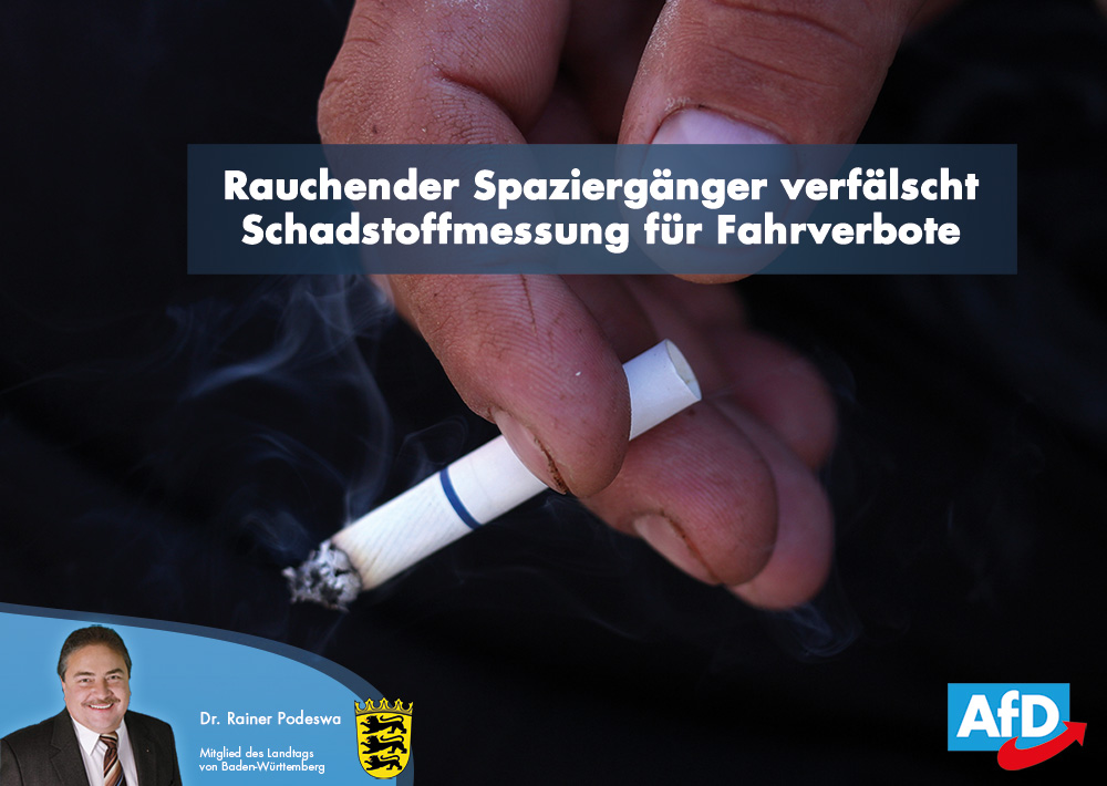 Fahrverbote: Rauchender Spaziergänger verfälscht Schadstoffmessung