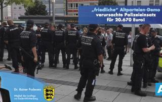 Altparteien-Demo verursachte Polizeieinsatz für 20.670 Euro!