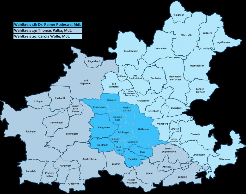 Wahlkreise der Landtagswahl 2016