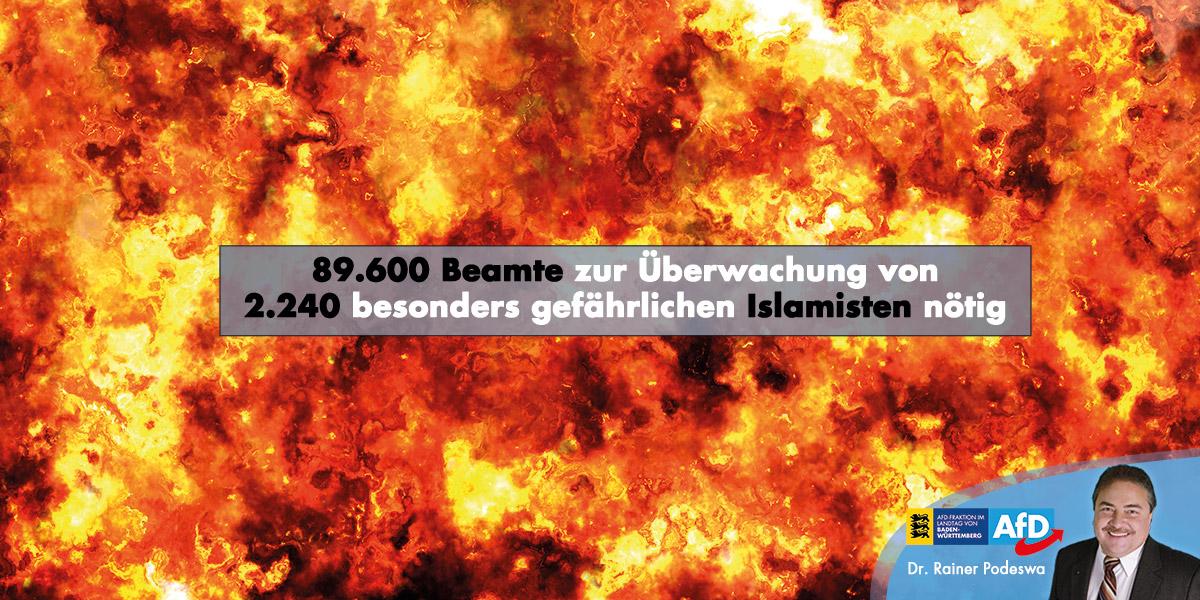 89.600 Beamte zur Überwachung von 2.240 besonders gefährlichen Islamisten nötig