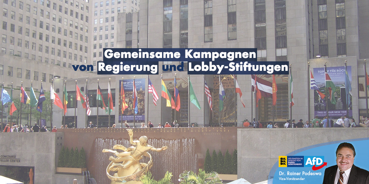 Gemeinsame Kampagnen von Regierung und Lobbyismus-Stiftungen