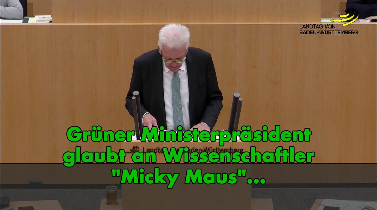 Klimareligion: Grüner Ministerpräsident glaubt an Wissenschaftler Micky Maus