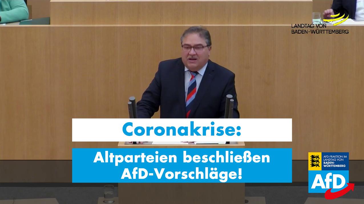 Corona-Soforthilfen: Altparteien-Kartell lehnt AfD-Antrag ab, beleidigt die AfD und bringt den zu 99% identischen Antrag danach selbst ein!