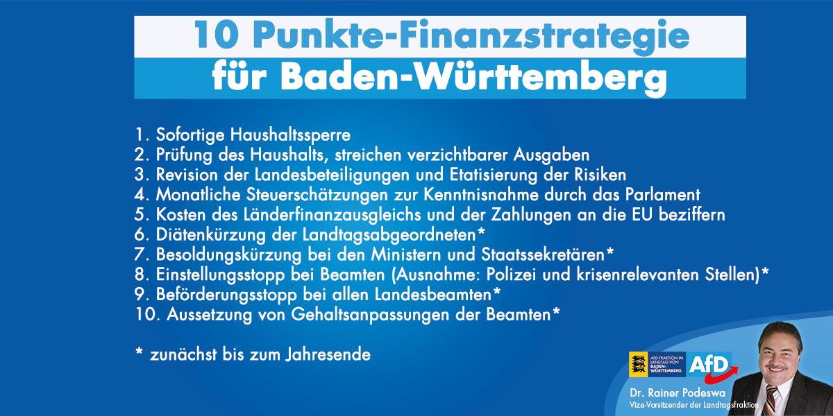 10-Punkte-Finanzstrategie für Baden-Württemberg