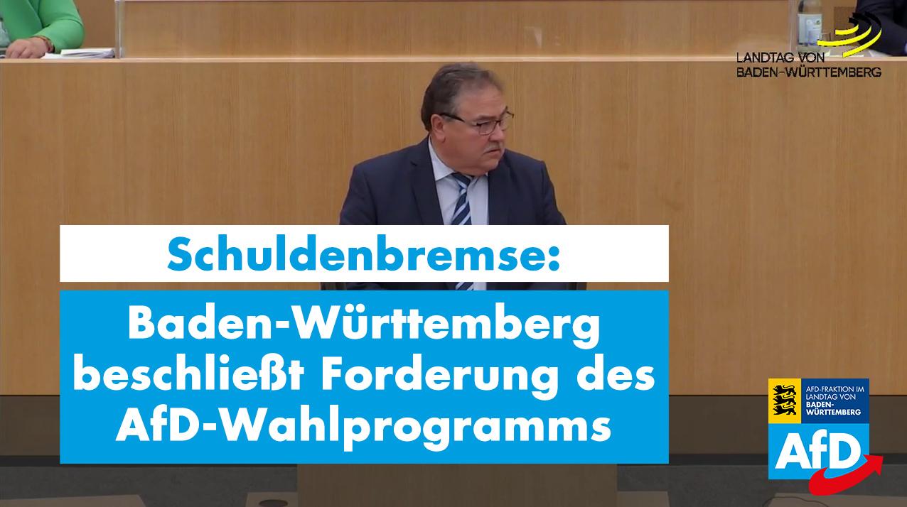 Schuldenbremse: Baden-Württemberg beschließt Forderung des AfD-Wahlprogramms