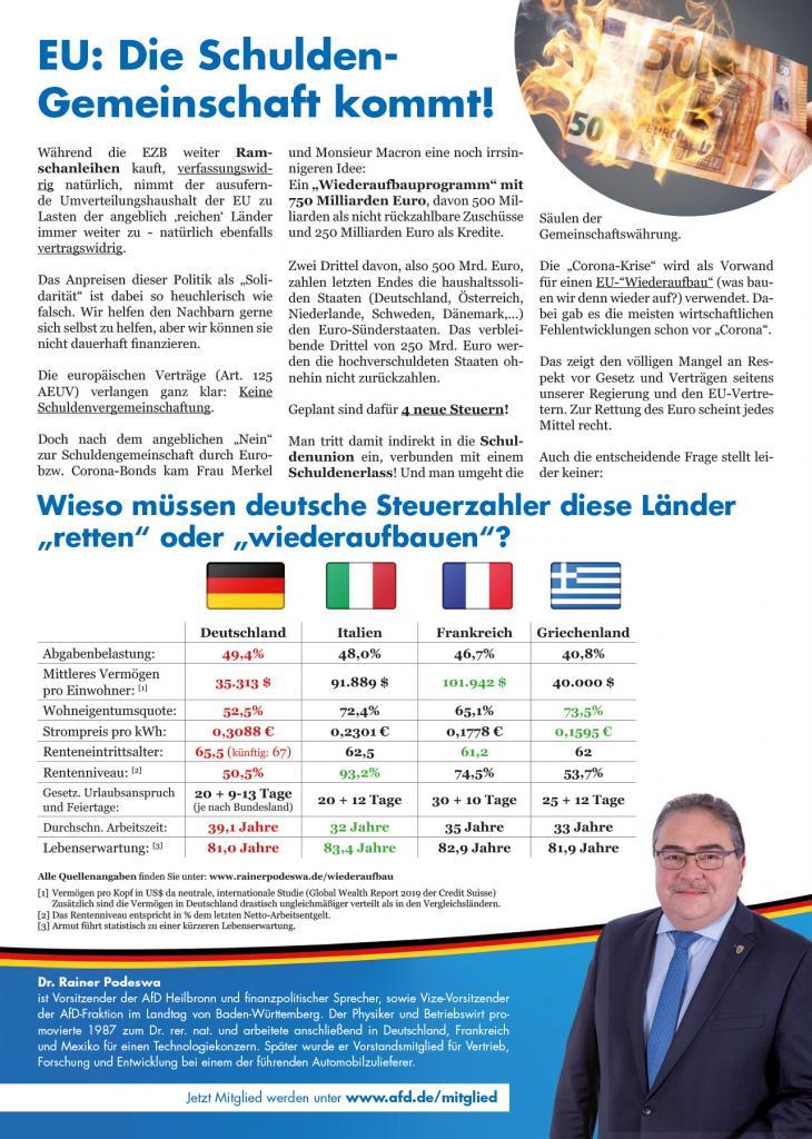 Flugblatt zur EU-Schuldengemeinschaft