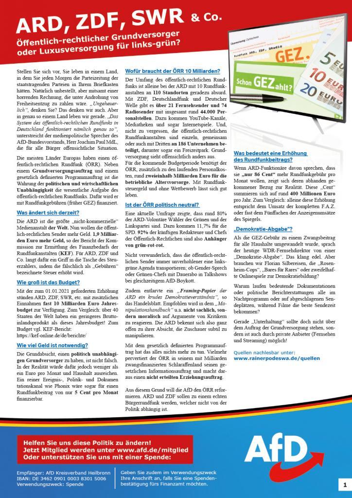 Flugblatt zum Rundfunkbeitrag der öffentlich-rechtlichen Rundfunkanstalten