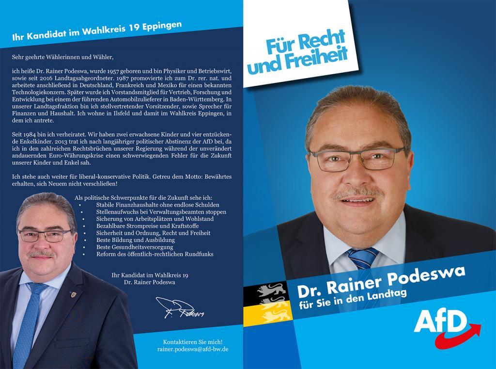 Dr. Rainer Podeswa - Wahlkreis 19 Eppingen - Landtagswahl 2021