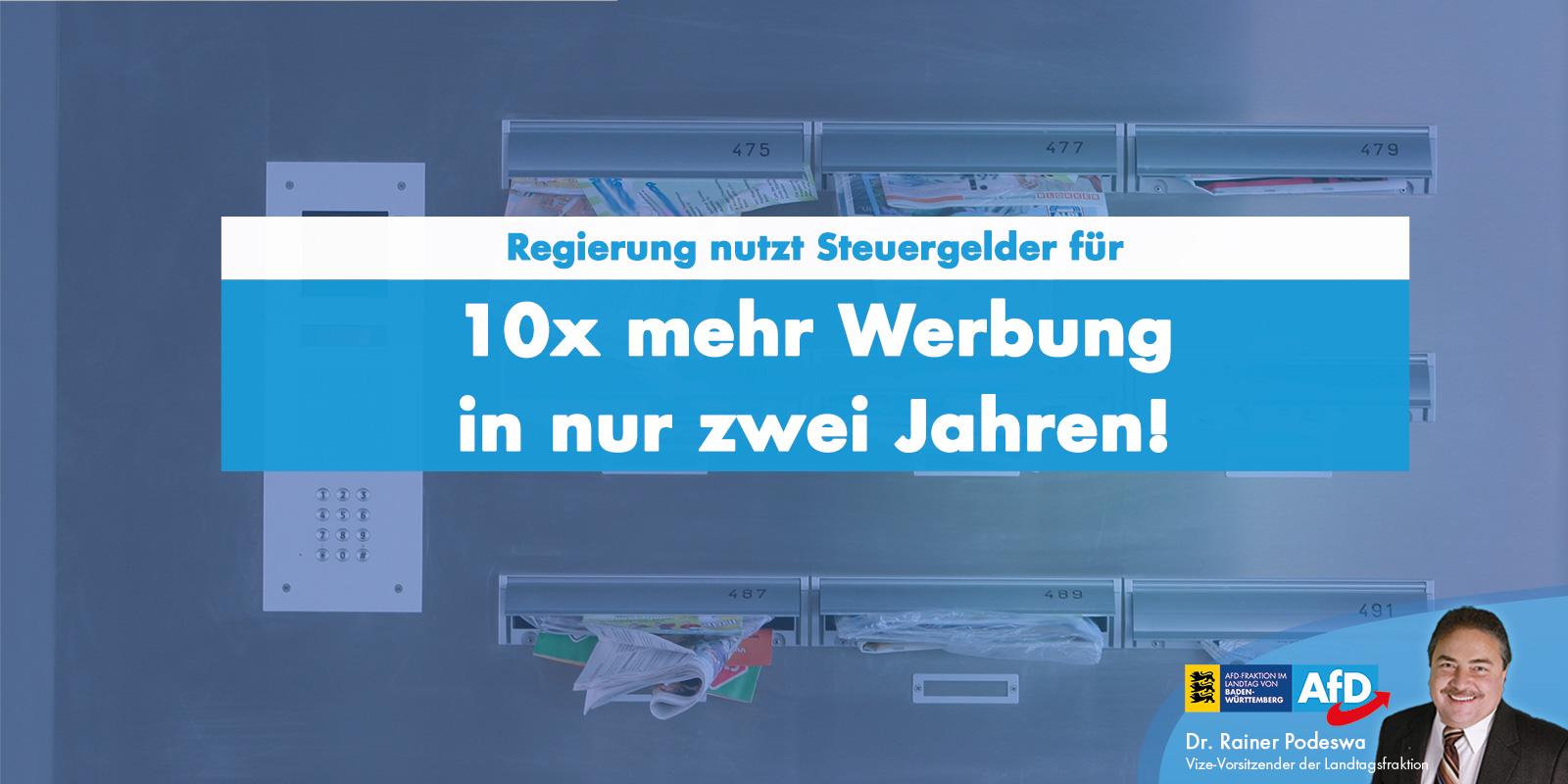 Dr. Rainer Podeswa: Landesregierung verzehnfacht Print-Werbeausgaben in zwei Jahren