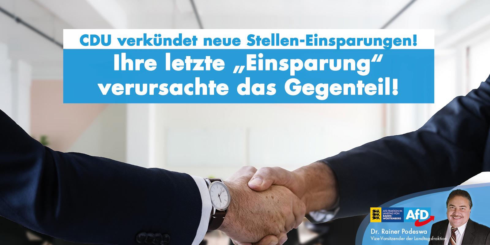 Dr. Rainer Podeswa MdL: Passiert beim CDU-Stellenabbau wieder das Gegenteil?