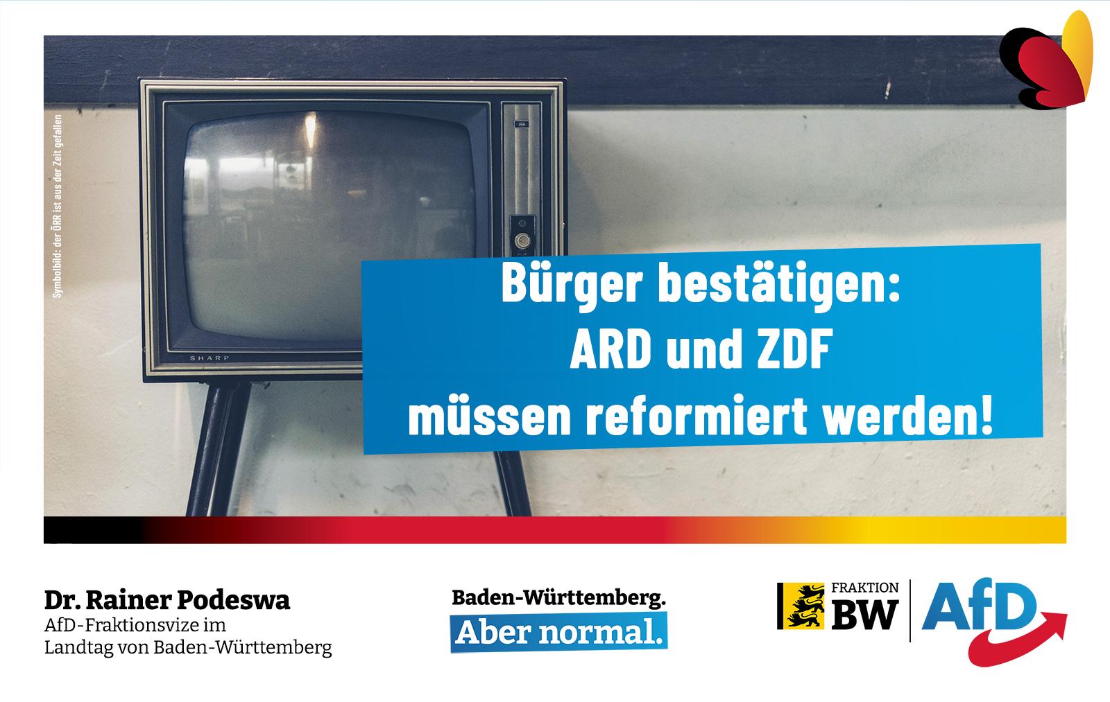 Dr. Rainer Podeswa: Bürger bestätigen: ARD und ZDF müssen reformiert werden