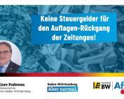 Dr. Rainer Podeswa: publizistische Misserfolge dürfen nicht staatlich alimentiert werden