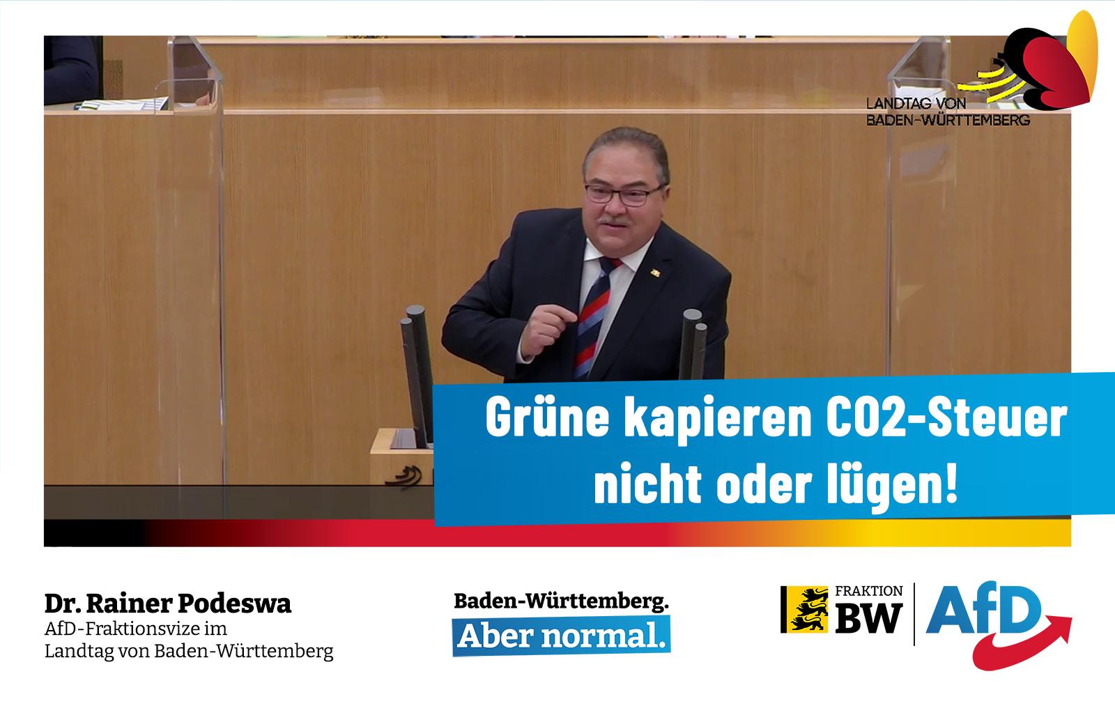 Dr. Rainer Podeswa: Grüne kapieren CO2-Steuer nicht oder lügen!
